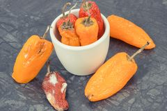 Old peppers with mold, unhealthy and disgusting food concept. Old wrinkled peppers with mold, concept of unhealthy and disgusting food royalty free stock photo