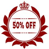 Old 50 PERCENT OFF red seal. Illustration graphic image concept Stock Photography