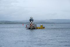 The Old Perch Lighthouse or Quey Beacon Light at Port Glasgow. Under some renovation stock photo
