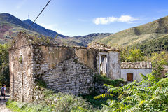 Old Perithia, Corfu`s oldest village, close to Mount Pantokrator, abandoned village. Royalty Free Stock Images