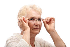 Old person test glasses Stock Photos