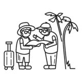 Old person travel concept background, outline style royalty free illustration