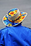 Old Person Wearing Colorful Hat Stock Photo