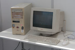 Old personal computer with crt monitor at Animefest. BRNO, CZECH REPUBLIC - APRIL 30, 2016: Old personal computer with crt monitor  at Animefest, anime Royalty Free Stock Image