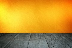 Old perspective wooden floor and golden wall Royalty Free Stock Photography