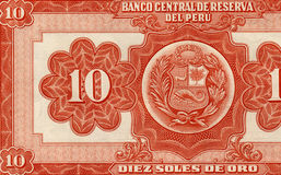 Old peruvian banknote. Back side of an old peruvian banknote, 10 soles de oro,full of details Royalty Free Stock Photo