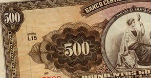 Old peruvian banknote. Five hundred soles de oro,old peruvian banknote,full of details Stock Photography