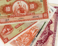 Old peruvian banknotes. Beautiful composition of peruvian banknotes with diferent values Stock Photos