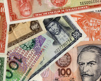 Old peruvian banknotes. Beautiful composition of peruvian banknotes with diferent values Royalty Free Stock Photo