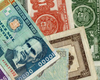 Old peruvian banknotes. Beautiful composition of peruvian banknotes with diferent values Royalty Free Stock Photos