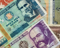 Old peruvian banknotes. Beautiful composition of peruvian banknotes with diferent values Stock Image