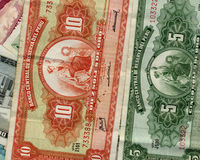 Old peruvian money. Of different value in a beautiful composition Royalty Free Stock Images