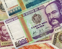 Old peruvian money. Of different value in a beautiful composition Stock Photo