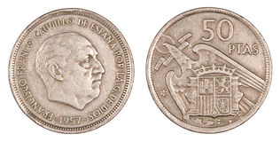 Old Peseta, Coin of Spain. Ancient spanish coin of the dictator Francisco Franco. Fifty pesetas. Isolated on white stock image