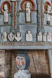 Old Petajavesi wooden church interior pulpit detail. Finland her Royalty Free Stock Photography