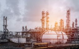 Industrial plants. Old petrochemical plant vintage effect Royalty Free Stock Photography