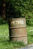 Old petrol can. Old rustic petrol can stock images