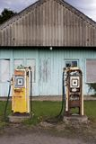 A old petrol station in the Scottish Highlands. An old abandoned and derelict petrol station in the remote far north east Highlands of Scotland on a summers day stock images