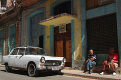 Old Peugeot in the streets of Havana Royalty Free Stock Images
