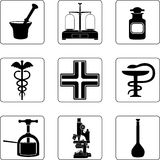 Old pharmacy. Objects in a nine square grid Royalty Free Stock Images