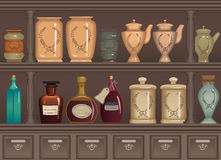 Old pharmacy. Vintage bottles and jars in the pharmacy cabinet - vector illustration Royalty Free Stock Images