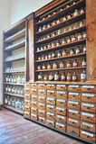 Old pharmacy. Empty scent bottles in old pharmacy Royalty Free Stock Photography