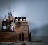 Old pharmacy. bottles and jars on wooden shelves Stock Photo