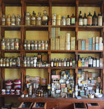 Old Pharmacy. Contents of an old pharmacy as found in colonial times in South Gippsland, Victoria, Australia. Photo taken January, 2016 stock photography