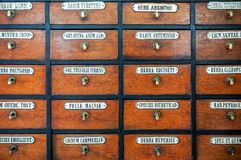 Old pharmacy drawer. With latin names of drugs as a texture royalty free stock photography