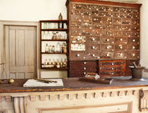 Old pharmacy. Old fashioned medicine shop and pharmacy royalty free stock image