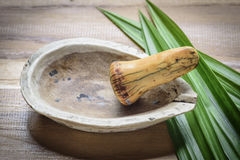 Old pharmacy mortar and ivory pestle with herb Royalty Free Stock Images