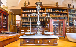 Old pharmacy. Museum in 1730. Photography allowed stock image