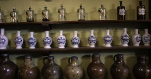 Old pharmacy potions. Old pharmacy with medicines and potions, medicine and health royalty free stock photography