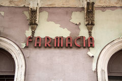 Old Pharmacy. Sign of Old Pharmacy in Italy Stock Image