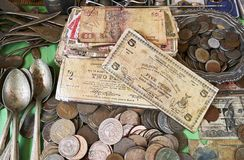 Old Philippine coins and notes royalty free stock photo