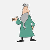 Old philosopher with long beard. Cartoon Stock Images