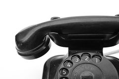 Old phone. Old-fashioned antique phone has a little dirty and worn royalty free stock photos