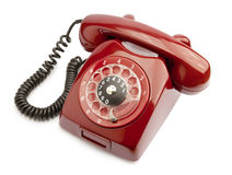Old phone. Red old phone isolated on white background Royalty Free Stock Photography