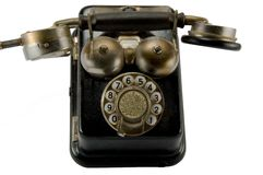 Old phone. First type of phone, which has a dialing mechanism stock images