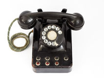 Old phone. Black vintage phone royalty free stock photo