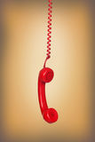 Old phone hanging wire Stock Photo