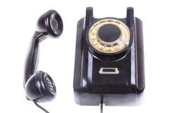 Old phone with off hook, contact us concept. Old phone off hook contact us concept  on white Royalty Free Stock Photos