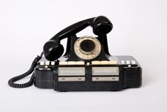 Old phone old technology. Historical telephone royalty free stock photo
