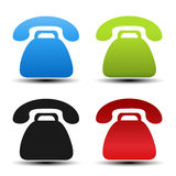 Old phone symbols on white background. Contact buttons, labels in blue, green, black and red color. Simple telephone stickers. Stock Photos