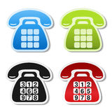 Old phone symbols on white background. Contact label in blue, green, black and red color. Telephone stickers with blank buttons an Stock Photos