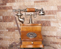Old phone wood Royalty Free Stock Images