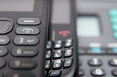 Old phones keyboards Stock Images