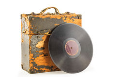 Old phonograph disk and box. On white background Stock Photography
