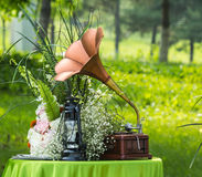 Old phonographic and oil lamps Stock Photography