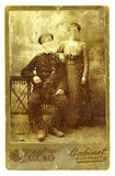 Old photo-2. Ancient photo of the soldier of imperial Russian army with the wife Stock Photo